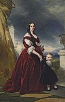 Portrait of the Countesse Duchapel, full-length, with her son