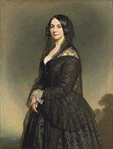 Portrait of a lady, three-quarter-length, in a black dress with a black lace veil, a landscape beyond