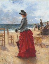 An elegant lady on the beach