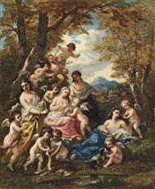 Nymphes et amours, scène champêtre idyllique