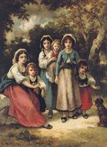 Trois Bohémiennes et trois enfants (Mme Diaz et Marie): A gypsy family