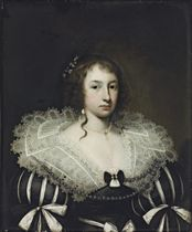 Portrait of a lady, bust-length, in a black-and-white dress with a lace collar, with  a pearl necklace, earrings and ribbons in her hair