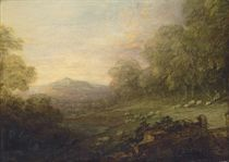 Wooded landscape with a shepherd and sheep on a slope by a river, a mountain beyond