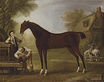Flying Childers held by a groom, with other figures, in a landscape with a cottage beyond