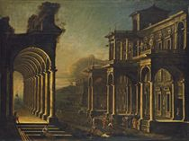 A capriccio view of a coastal city, with a loggia and other classicised buildings and Saint Peter healing the lame