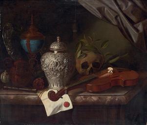 Violin, a skull draped with la