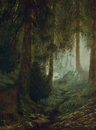 Deer in a forest landscape