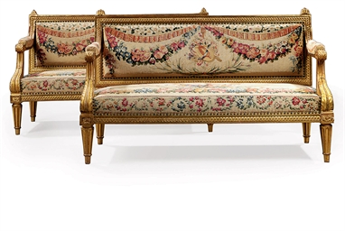 A PAIR OF LOUIS XVI GILT WALNU