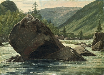 A jutting rock in the rapids (