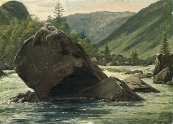 A jutting rock in the rapids (