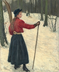 Skiers in a snowy wood
