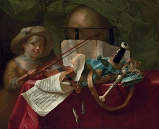 A young girl with a violin, ot