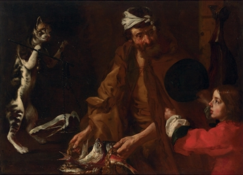 Fishmonger, a boy and a cat we