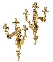 A PAIR OF FRENCH ORMOLU LARGE THREE-BRANCH WALL-LIGHTS