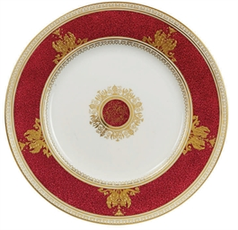 A WEDGWOOD CLARET AND GILT PAR