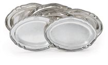 SIX GEORGE III SILVER MEAT-DISHES