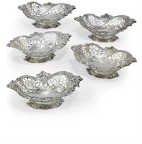 A SET OF FIVE VICTORIAN SILVER DISHES