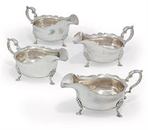 A SET OF FOUR GEORGE VI SILVER SAUCEBOATS
