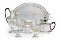 A GEORGE III SILVER SIX-PIECE TEA AND COFFEE SERVICE WITH TRAY EN SUITE