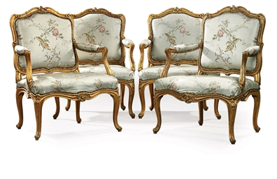 A SET OF FOUR LOUIS XV GILTWOO