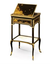A LOUIS XVI ORMOLU-MOUNTED EBONY, 'AVENTURINE' AND JAPANESE LACQUER TABLE A ECRIRE