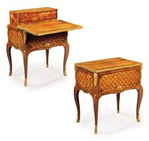 A LATE LOUIS XV ORMOLU-MOUNTED TULIPWOOD, AMARANTH, SATINÉ AND PARQUETRY TABLE A LA BOURGOGNE