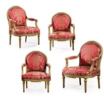 A SET OF FOUR LOUIS XVI CARVED GILTWOOD FAUTEUILS A LA REINE