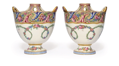A PAIR OF SEVRES CIRCULAR BOUG