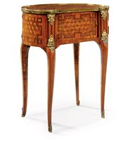 A LATE LOUIS XV ORMOLU-MOUNTED FLORAL MARQUETRY AND PARQUETRY TABLE A ECRIRE