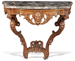 A REGENCE CARVED OAK CONSOLE