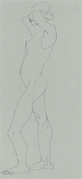 Standing figure with hands beh