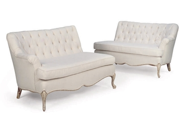 A PAIR OF FRENCH CORNER SOFAS