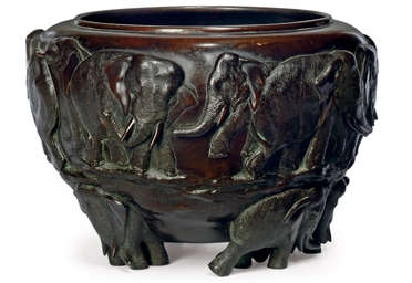 A JAPANESE BRONZE ELEPHANT JAR