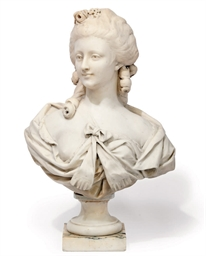 A FRENCH MARBLE BUST OF MARIE-