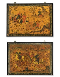 A PAIR OF QAJAR PAINTED PAPIER