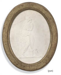 AN ENGLISH OVAL PLASTER RELIEF