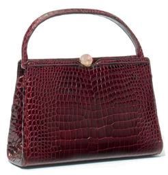 A BURGUNDY CROCODILE BAG