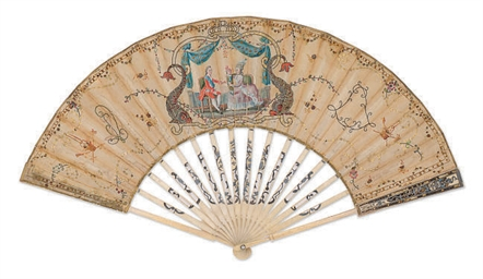 a fan painted with marie antoinette, the dauphin and louis xvi