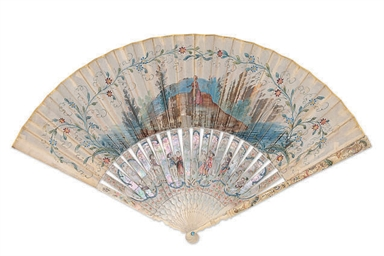 A PAINTED LEAF FAN