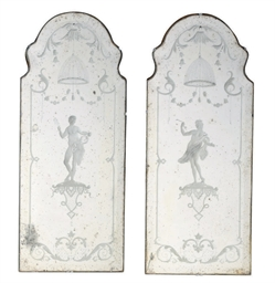 A PAIR OF VENETIAN ETCHED GLAS