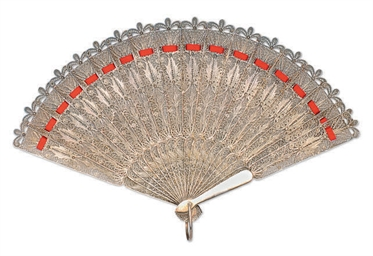 A SILVER FILIGREE FAN