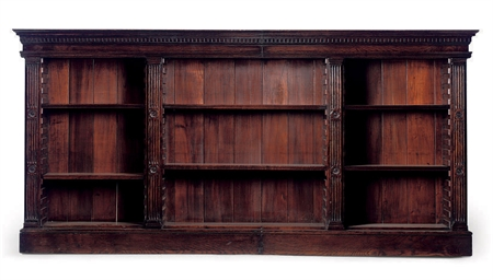 A LATE VICTORIAN OAK OPEN BOOK