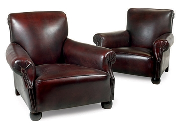 A PAIR OF CLUB ARMCHAIRS