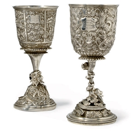 A CHINESE EXPORT SILVER GOBLET