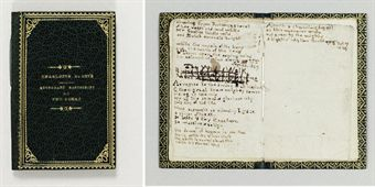 BRONTË, Charlotte (1816-1855). Autograph manuscript of two poems, Found in the Inn Belonging to You (Thou art a sweet and lovely flower...), and Addressed to the Tower of all Nation (O thou great thou mighty tower...) dated respectively U.T. Sept. 28,1829 and U.T. Oct 7 1829, with a title and two lines of another poem entitled The Walk, neatly inked out.