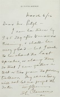 CLEMENS, Samuel (Mark Twain). Autograph letter signed (S. L. Clemens) to Charles Putzel, New York, 6 March 1906. 1 page, 8vo, on 21 Fifth Avenue stationery, matted and framed with a color engraving of Clemens.