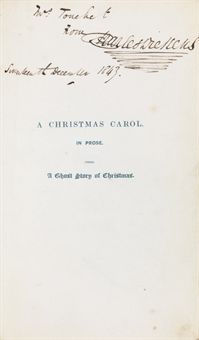 DICKENS, Charles. A Christmas Carol. In Prose. Being a Ghost Story of Christmas. London: Chapman & Hall, 1843.