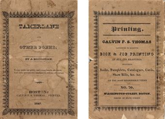 POE, Edgar Allan.  Tamerlane and Other Poems.  Boston: Calvin F.S. Thomas, 1827.