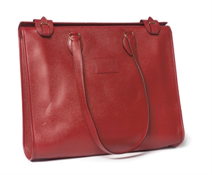 A RED LEATHER 'CABA' BAG