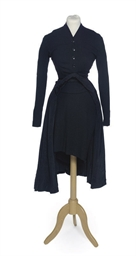 A COAT DRESS OF BLACK SILK